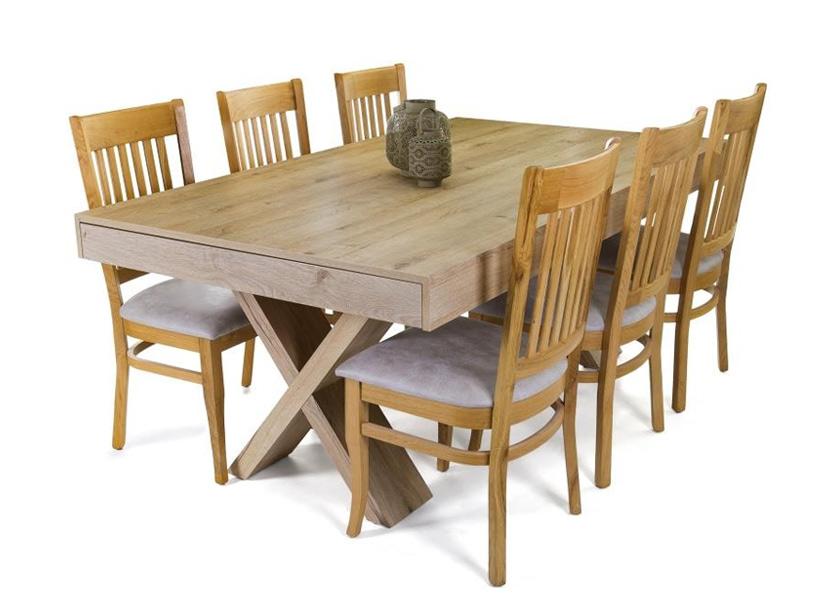ענק פינת אוכל דגם אופרה כולל 6 כיסאות עץ | living room YR-06
